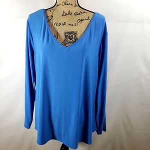 ROZ & ALI blouse long sleeve vneck